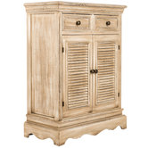 White Stone Wood Cabinet with Drawers